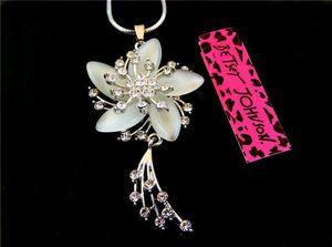 Betsey Johnson Crystal flower Pendant Necklace Sweater Chain
