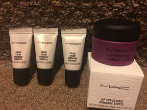 MAC 4-Piece Set. 3- .2oz Strobe Creams (travel size),.47oz Lip Scrubtious Summer Berry. UNUSED