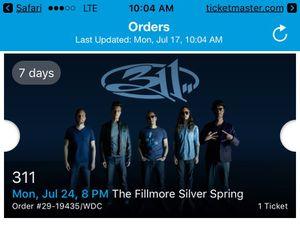 311 ticket 7/24 8pm @ The Fillmore