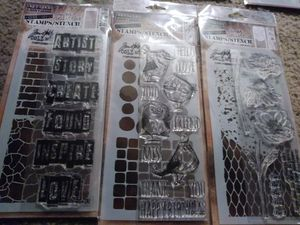 Tim Holtz collection Stampers Anonymous mixed-media stamp and stencil sets