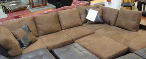 Brand New Brown Microfiber Sectional Sofa + Ottoman