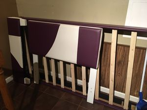 Like new purple and white twin bed frame