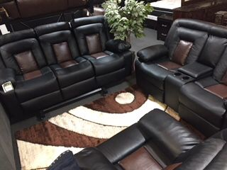 Black Cobra Leather Sofa And Love Seat Furniture In Rosedale MD