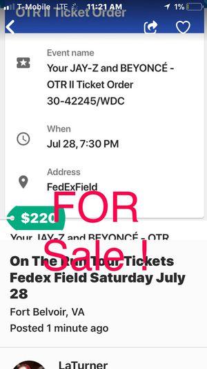 Jay-z & Beyonce Tickets @ fedex fields