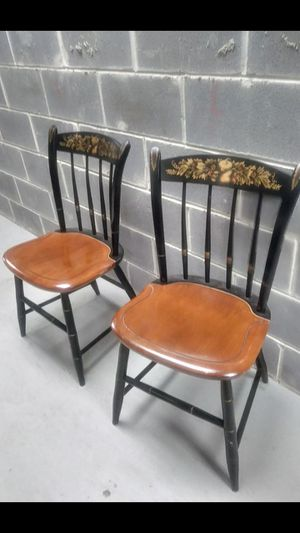 TWO HITCHCOCK SOLID WOOD CHAIRS