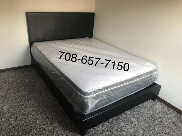 Brand new queen size platform bed with pillow top mattress