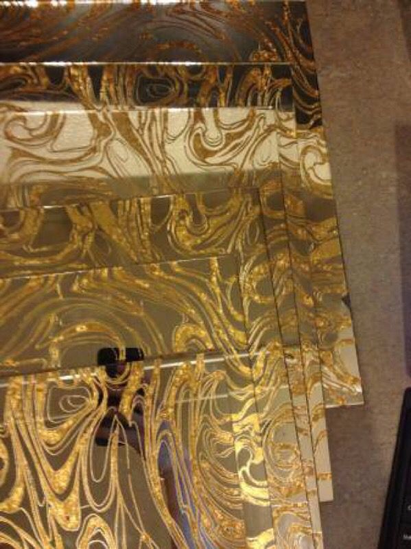 Gold Vein Mirror Glass Tiles Mid Century Modern Home