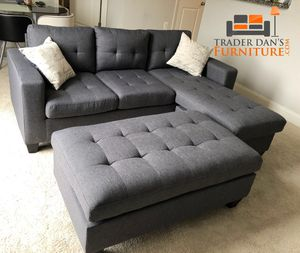 Brand new gray linen sectional with ottoman