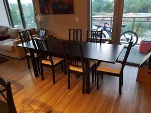 """Dining room set with 6 chairs table length 86.7 """" and 33"""" wide can be reduced by 31"""" by removing extra leaf"""