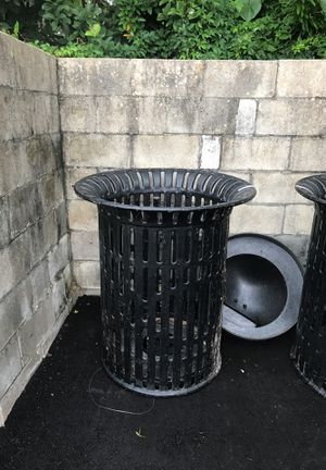 Heavy duty metal trash barrels
