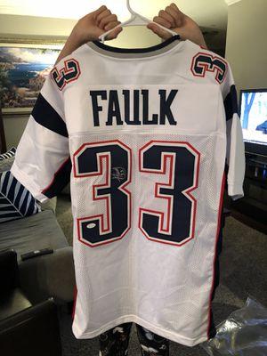 Kevin Faulk Autographed white custom jersey XL JSA certified $150