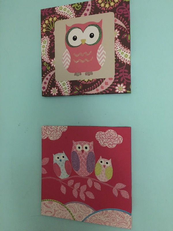 2 owl wall canvas
