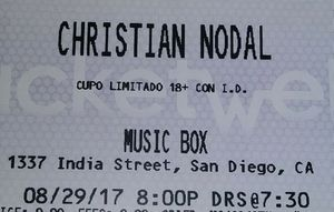 CHRISTIAN NODAL 2 TICKETS!!! AUGUST/29/2017 8PM MUSIC BOX. 1337 India Street SD 🎤🎼🎵🎶✔💯🇮🇹🎼🎵🎶🎹🎻🎺🎤💿