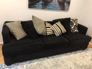 Black Modern Sofa - microfiber