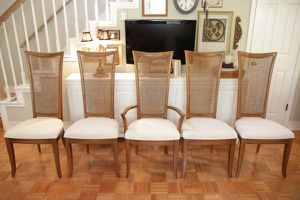 SET OF 5 MCM, SOLID WOOD, RESTORATION HARDWARE STYLE DINING CHAIRS