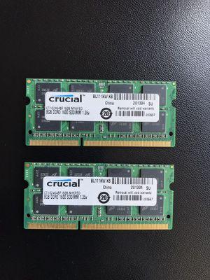 Crucial 16GB Kit (2 x 8GB) DDR3L-1600 1600 MT/S SODIMM Memory for Mac (CT2K8G3S160BM)