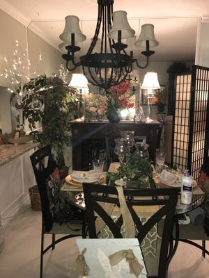 Fabulous Round Glass Table Top Dining Room Set With Four Wrought Iron Chairs Practically Brand New