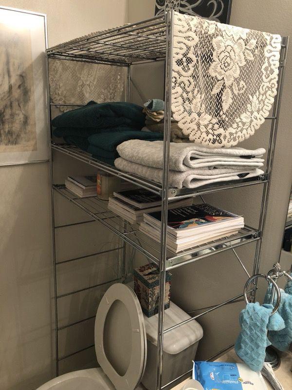 Chrome Shelf Rack Organizer Towel Storage Over The Toilet Bathroom