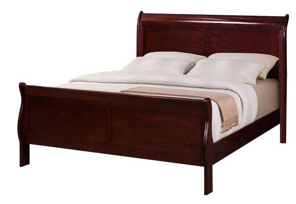 Brand New Queen Size Wood Sleigh Bed + Mattress Set