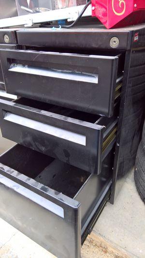 Black mobile file cabinet with keys