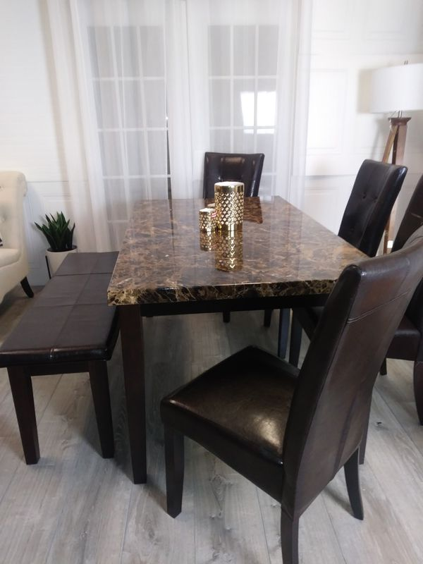 New Marble Top Dining Room Tables Kitchen Dinette Table Chairs Bench Dinettes Furniture In Baltimore MD