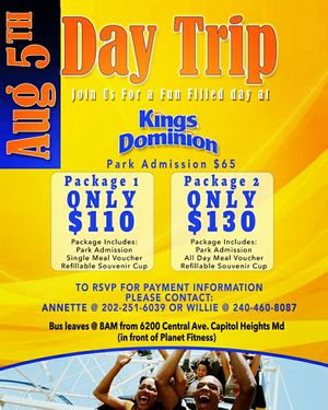 Kings Dominion Bus Trip from MD