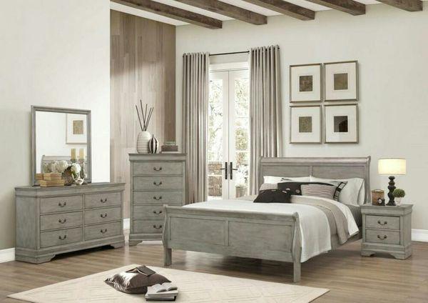 Brand new gray/white/cherry/black all wood king 4PCs bedroom set ...