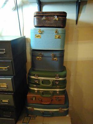 7 Vintage Suitcases, Make Up, Briefcase.