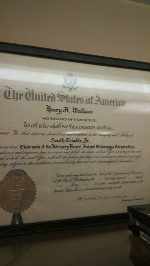 Henry Wallace signature placque