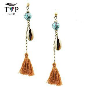 Goldtone Boho Blue Bead w/Conch 🐚 and Tassel Earrings