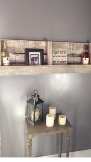 Reclaimed pallet shelf primitive home decor