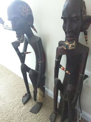 Hand carved wood massai warrior