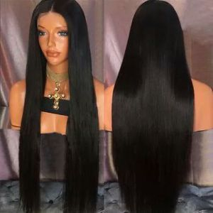 Long straight middle part synthetic wig