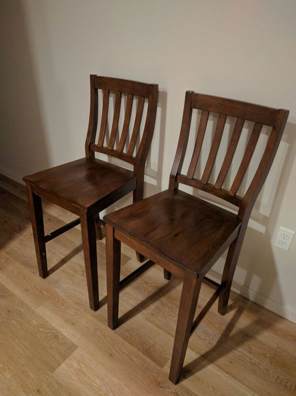 Two wood bar chairs furniture in seattle wa offerup for Offer up furniture