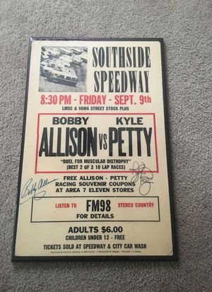 Vintage Southside Speedway Bobby Allison versus Kyle Petty admission sign