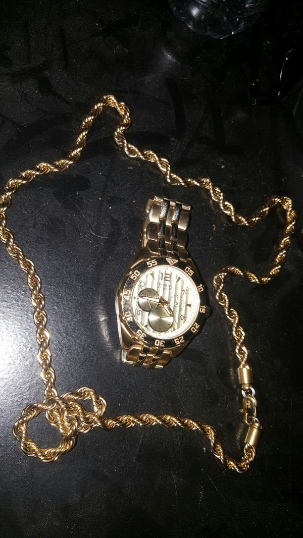 Armitron watch gold gods 18K chain REAL Jewelry Accessories in