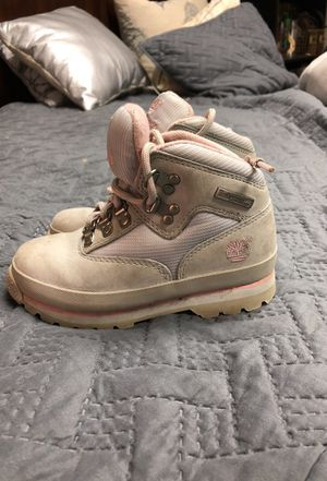 Pink and grey girl size 10 timberland boots