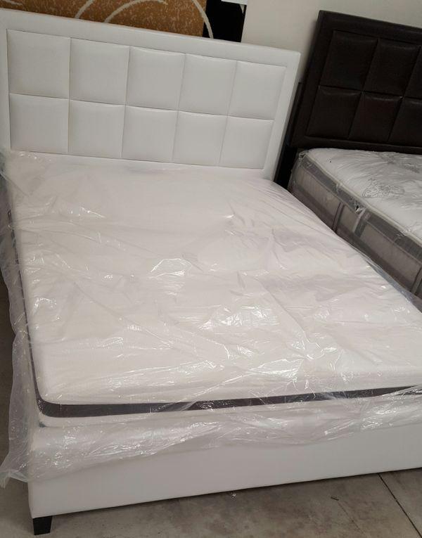 Brand New Queen Size Leather Platform Bed + Mattress
