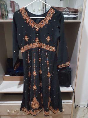 Black embroidered anarkali style dress 3 piece size m