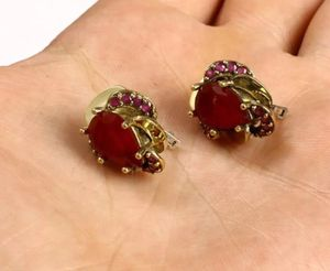 925 Sterling Silver, Turkish Ruby Earrings