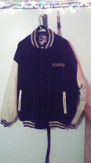 New orleans saints jacket with white leather sleeves