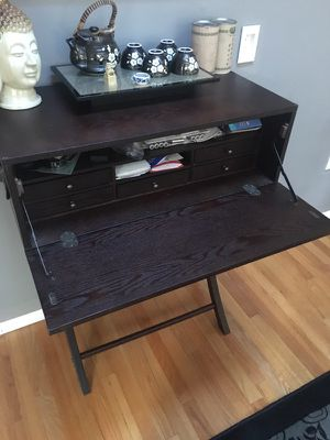 Dark Brown Wooden Secretary desk