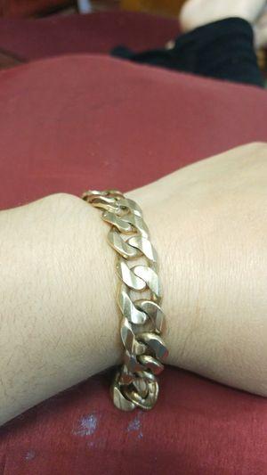 14k gold mens solid link bracelet