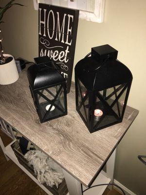 Pair of black lanterns
