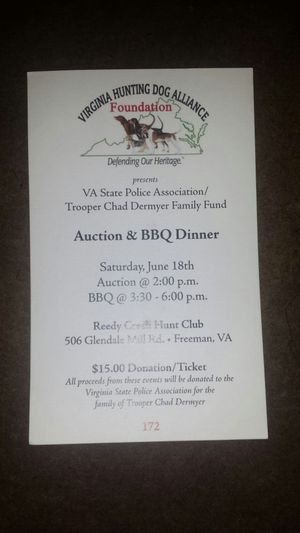Auction in Freeman, VA Benefit for Trooper Chad Dermyer Family Fund