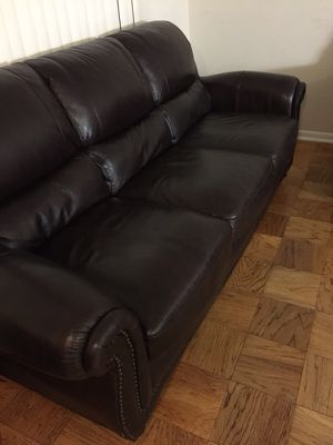 Real genuine ITALIAN leather nailhead trim couch or sofa set