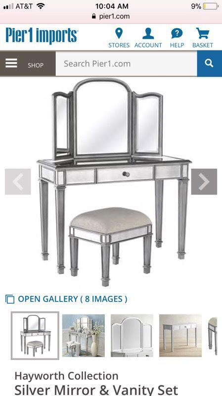 hayworth collection mirrored furniture. PIER 1 - Hayworth Collection Silver Mirror \u0026 Vanity Set Mirrored Furniture C