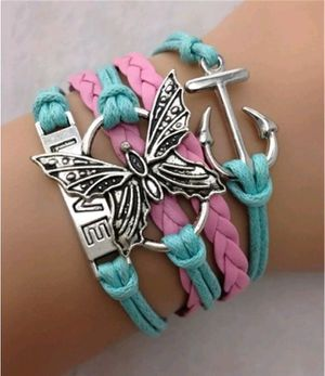 Fashion Infinity Butterfly Anchor Love Shaped Charm Leather Bracelet