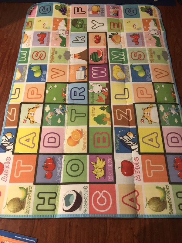 GMS 180*120*0.5cm Double Sides Baby Kids Toddler Crawl Mat Playing Carpet Playmat Picnic Blanket (Farm & Fruit Alphabet)
