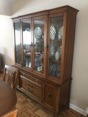 Antique Dining Room Set Hutch Table And Chairs